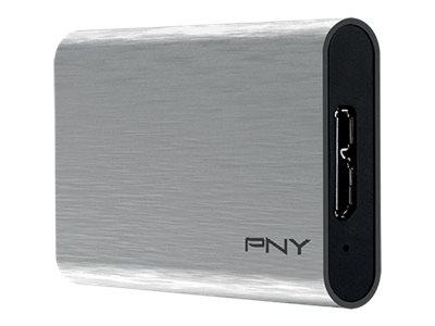 PNY ELITE - Solid-State-Disk - 480 GB - extern (tragbar) - USB 3.1 Gen 1 - Brushed Silver
