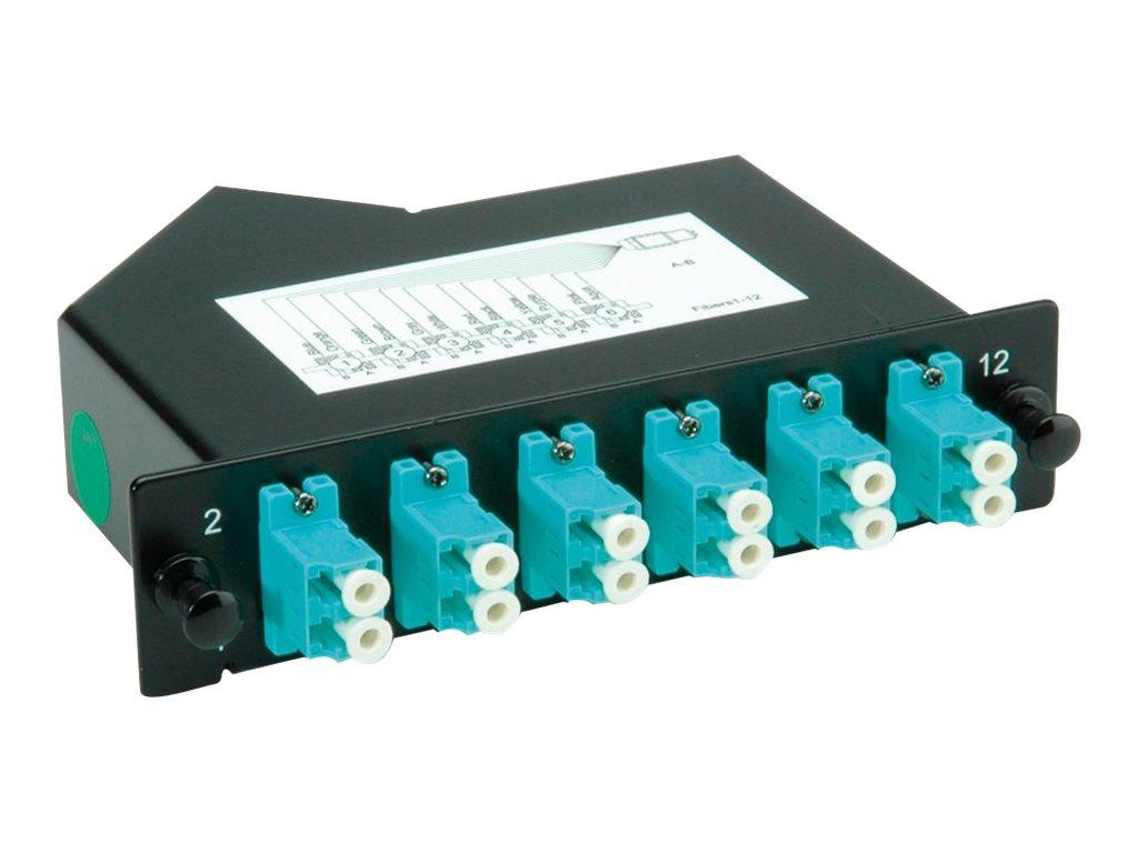 Roline - MPO-Glasfaseroptikkassette - LC SM X 12 - Schwarz, RAL 9005