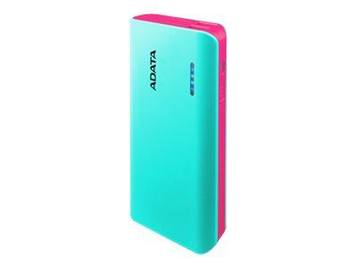ADATA PT100 - Powerbank - 10000 mAh - 2.1 A - 2 Ausgabeanschlussstellen (USB) - auf Kabel: Micro-USB