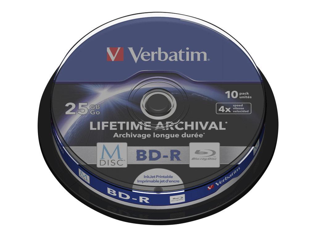 Verbatim M-Disc - 10 x BD-R - 25 GB 4x - mit Tintenstrahldrucker bedruckbare Oberfläche - Spindel