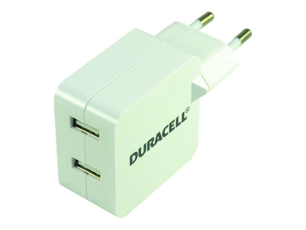 Duracell DRACUSB4W-EU - Netzteil - 2.4 A - 2 Ausgabeanschlussstellen (USB) - weiss - Europa