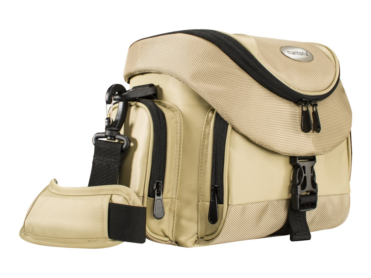 mantona Premium - Schultertasche für Kamera und Objektive - Polyestermischgewebe - Schwarz, Sand