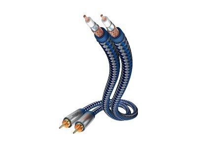 in-akustik Premium - Audiokabel - RCA (M) bis RCA (M) - 5 m - Doppelisolierung - Blau, Silber