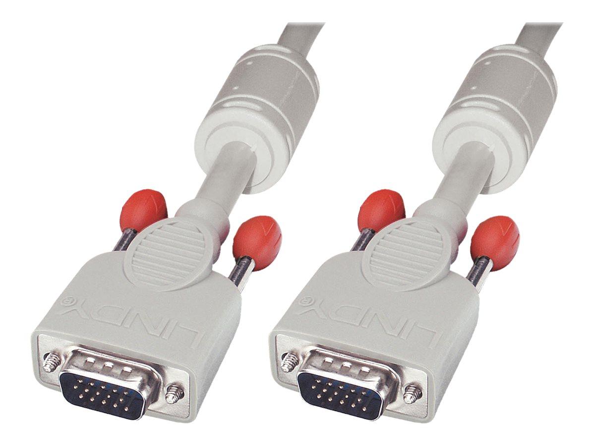 Lindy - VGA-Kabel - HD-15 (VGA) (M) bis HD-15 (VGA) (M) - 7.5 m - geformt, Daumenschrauben - Cool Gray