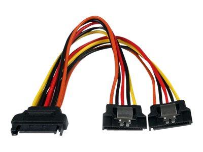 StarTech.com SATA Y-Strom-Adapterkabel mit Verriegelungs Clip 15cm - S-ATA Y Splitter Stromkabel St/Bu - Serial ATA 15pin Y-Adap