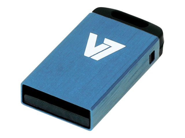 V7 Nano VU28GCR-BLU-2E - Nano USB-Flash-Laufwerk - 8 GB - USB 2.0 - Blau