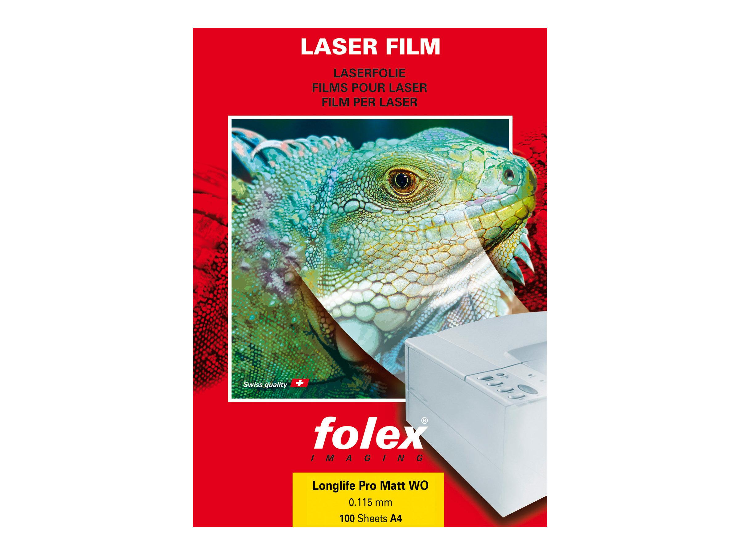 Folex Longlife Pro Matt WO - Polyester - matt - 115 Mikron - Mattes Weiss - A4 (210 x 297 mm) 100 Blatt Folie / Film