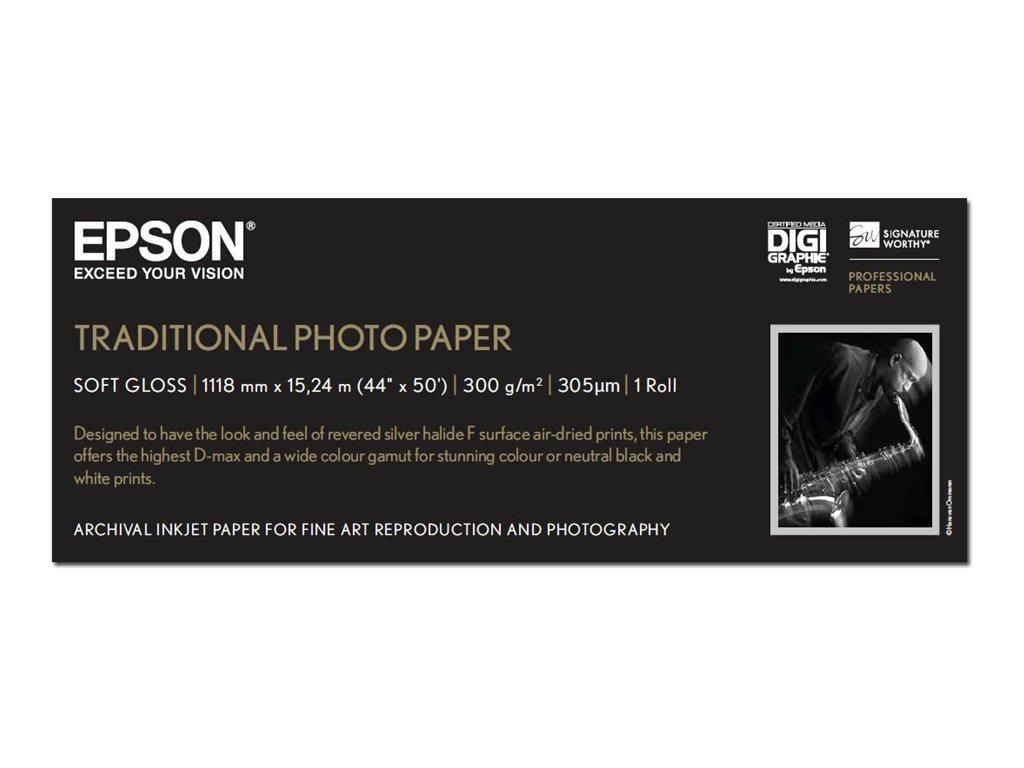 Epson Traditional Photo Paper - Rolle (111,8 cm x 15 m) - 300 g/m² - Fotopapier - für Stylus Pro 11880, Pro 98XX; SureColor SC-P