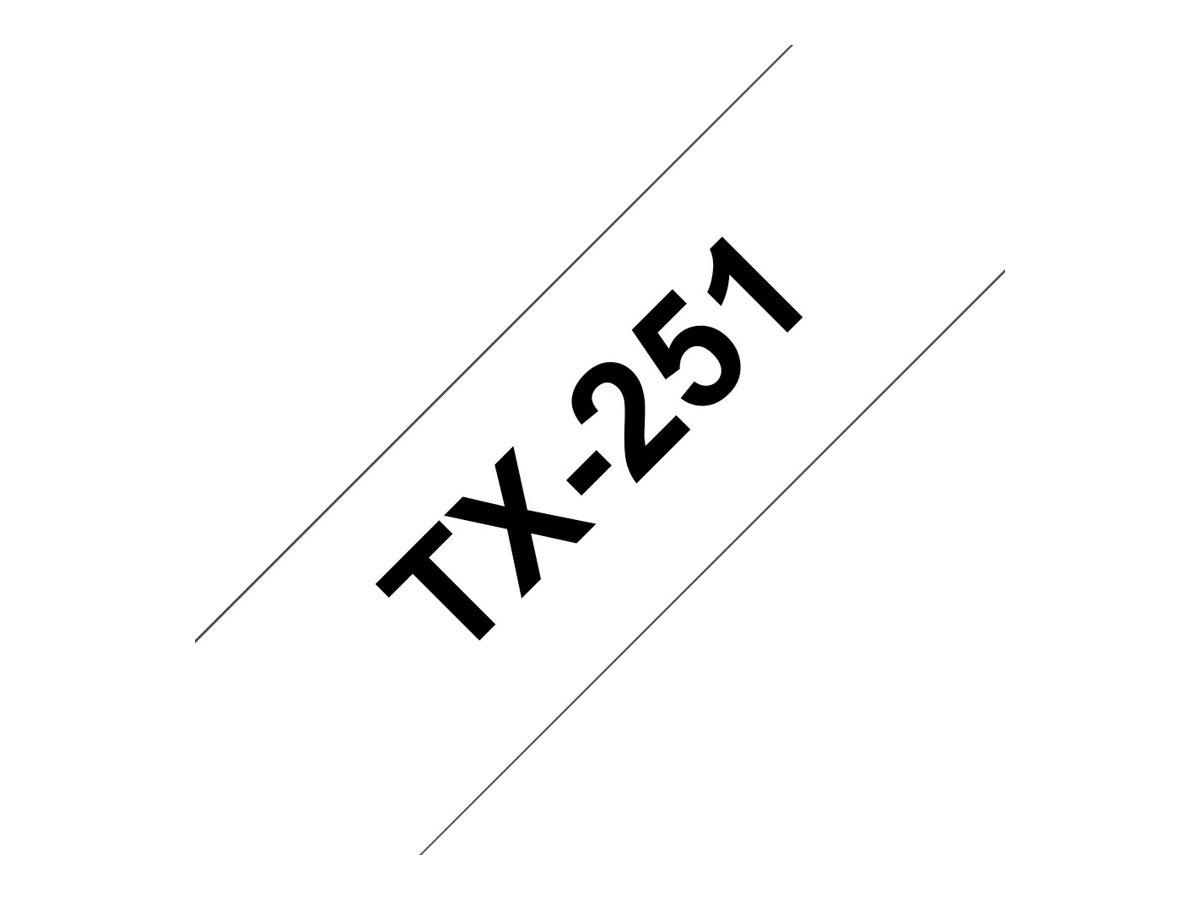 Brother TX251 - Schwarz auf Weiss - Rolle (2,4 cm) laminiertes Band - für P-Touch PT-30, PT-7000, PT-8000, PT-PC