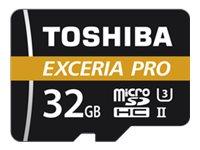 Toshiba EXCERIA PRO M501 - Flash-Speicherkarte (microSDHC/SD-Adapter inbegriffen) - 32 GB - UHS-II U3 / Class10 - microSDHC UHS-