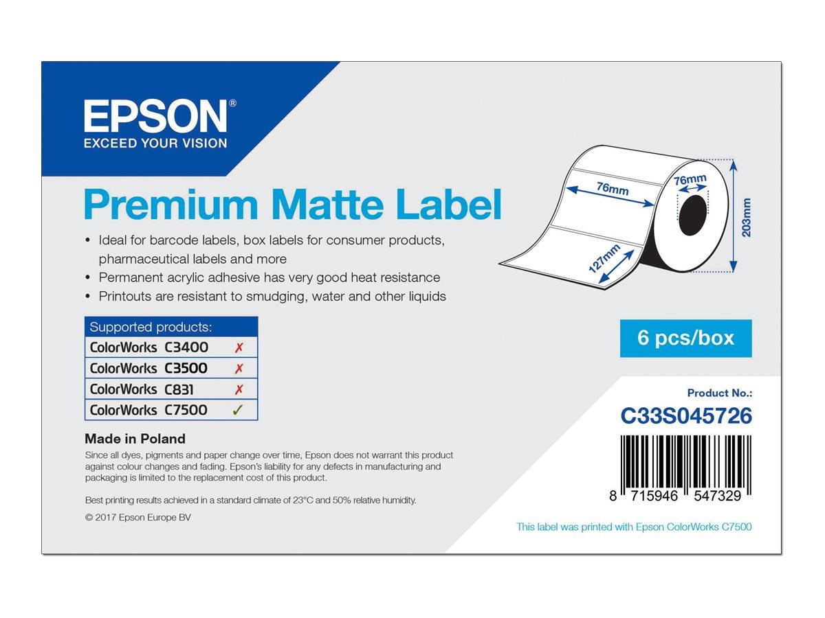 Epson Premium - Matt - permanenter Acrylklebstoff - 76 x 127 mm 5760 Etikett(en) (6 Rolle(n) x 960) gestanzte Etiketten - für Co