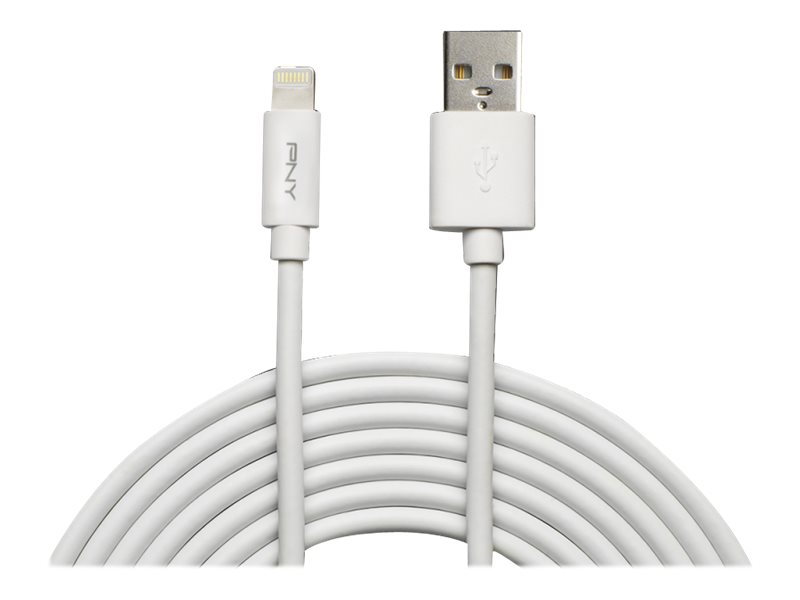 PNY Charge & Sync - Lightning-Kabel - USB (M) bis Lightning (M) - 3 m - weiss - für Apple iPad/iPhone/iPod (Lightning)
