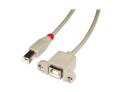 Lindy - USB-Verlängerungskabel - USB Typ B (M) bis USB Typ B (W) - USB 2.0 - 50 cm - Hellgrau