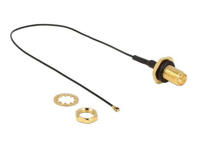 DeLOCK - Antennenkabel - RP-SMA (W) bis MHF4 (M) - 20 cm - Koax - Schwarz