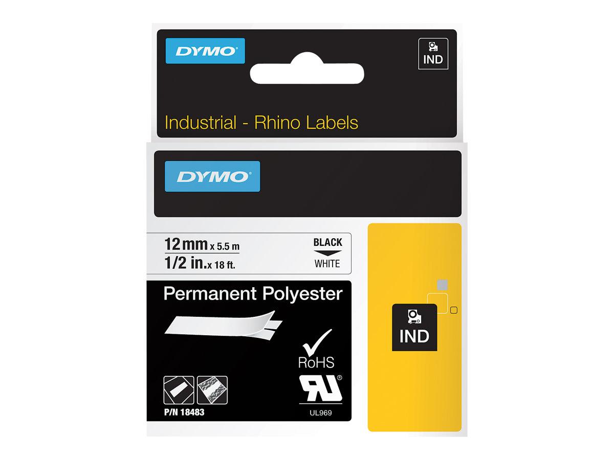 DYMO IND - Polyester - permanenter Klebstoff - Schwarz auf Weiss - Rolle (1,2 cm x 5 m) 1 Rolle(n) Etikettenband - für Rhino 420