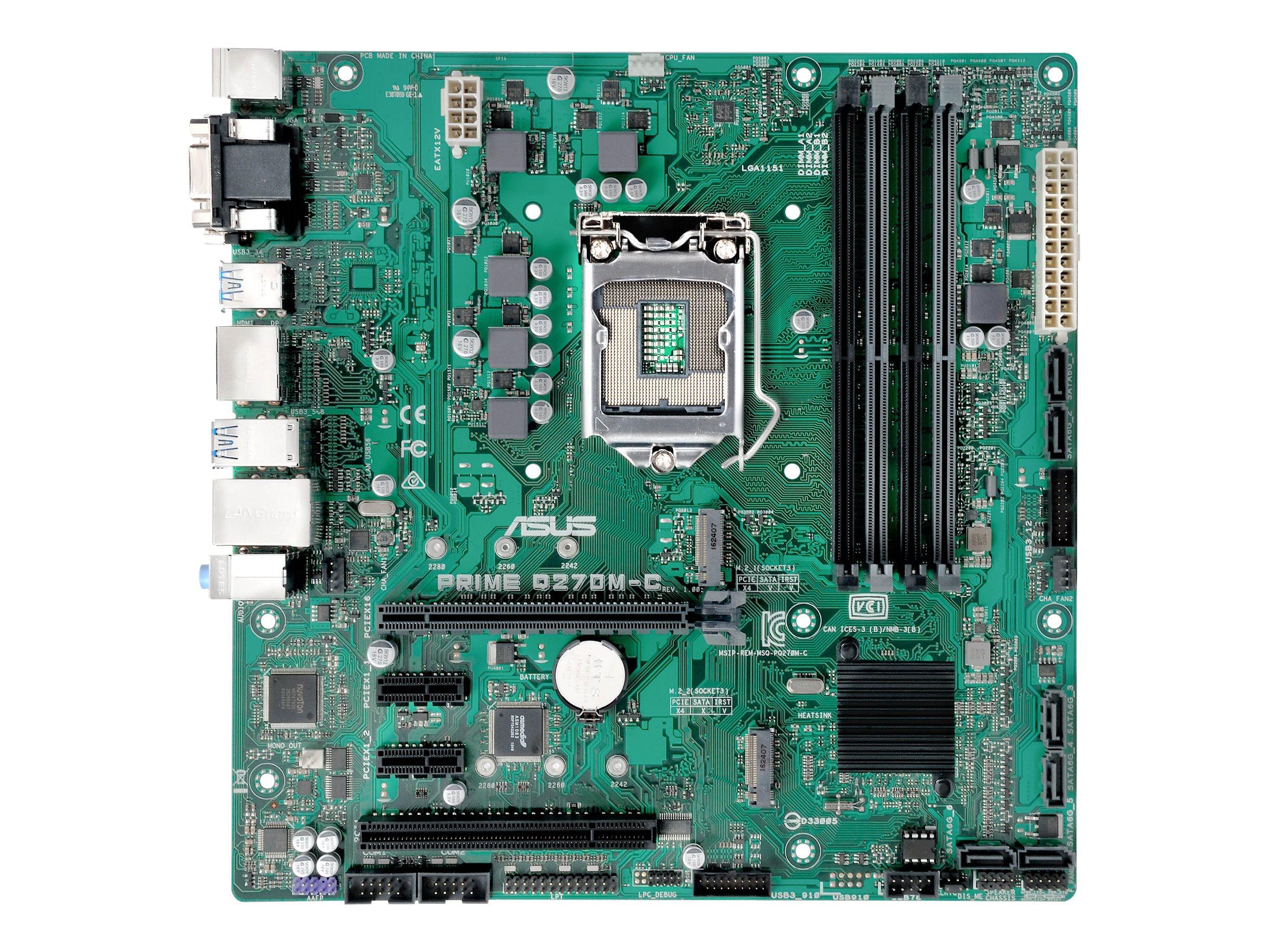 ASUS PRIME Q270M-C/CSM - Motherboard - micro ATX - LGA1151 Socket - Q270 - USB 3.0