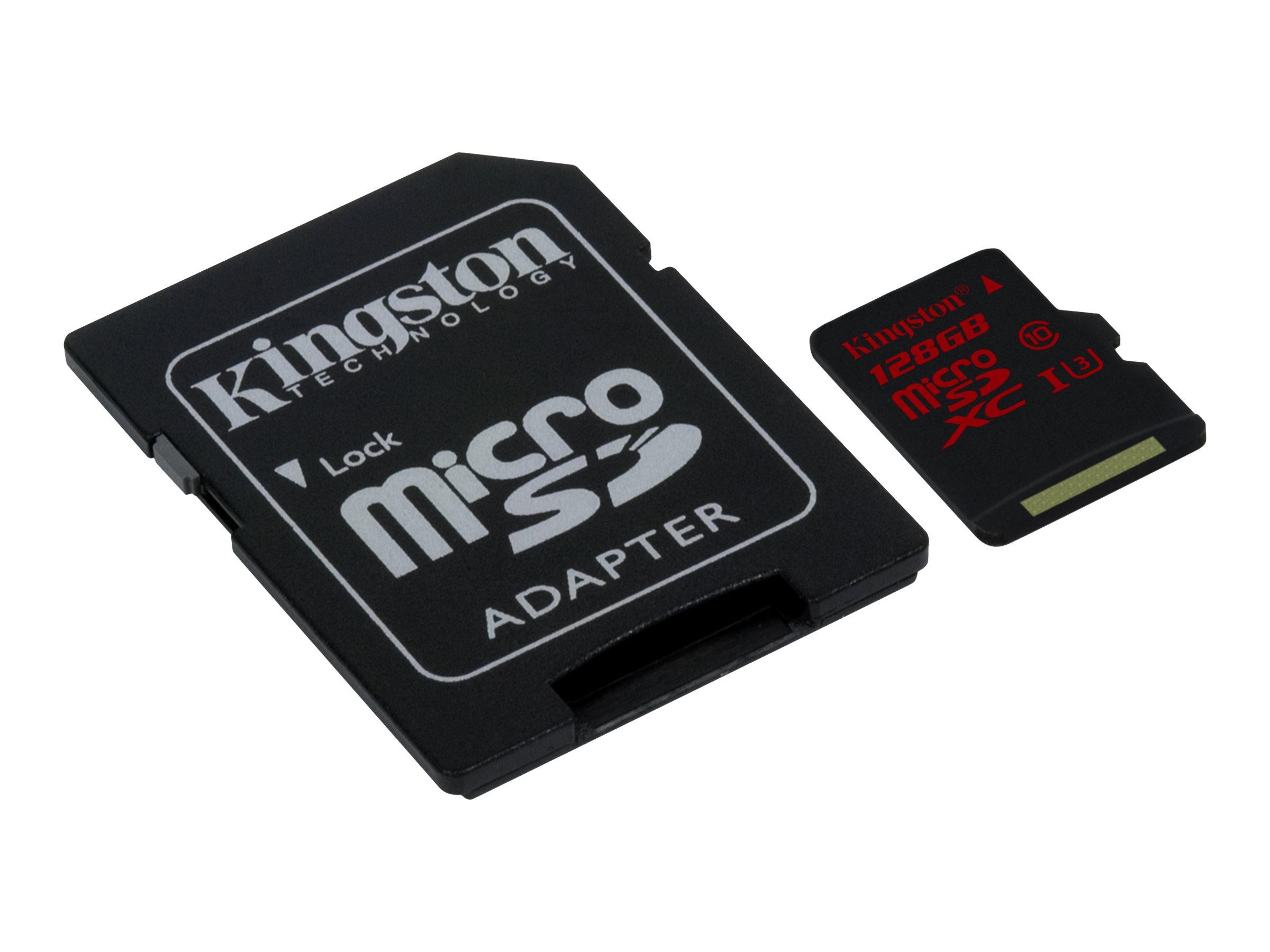 Kingston - Flash-Speicherkarte (microSDXC-an-SD-Adapter inbegriffen) - 128 GB - UHS Class 3 - microSDXC UHS-I