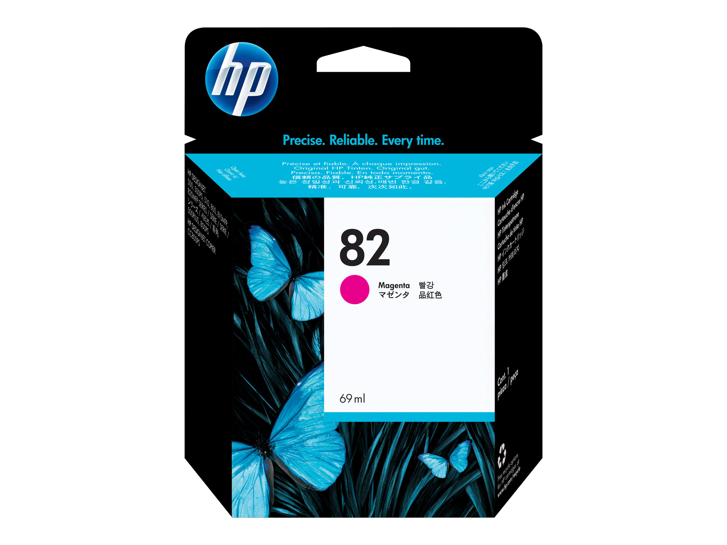 HP 82 - 69 ml - Dye-Based Magenta - Original - Tintenpatrone - für DesignJet 100, 120, 20, 500, 510, 800, 815, 820; Designjet Co