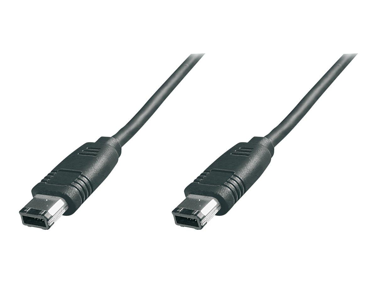 ASSMANN - IEEE 1394-Kabel - FireWire, 6-polig (M) bis FireWire, 6-polig (M) - 3 m - geformt - Schwarz