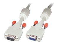 Lindy Premium - VGA-Verlängerungskabel - HD-15 (VGA) (W) bis HD-15 (VGA) (M) - 10 m - geformt, Daumenschrauben - Grau