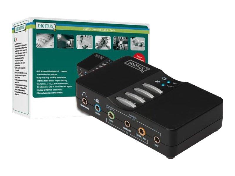DIGITUS 7.1 USB Sound Box DA-70800 - Soundkarte - 48 kHz - 7.1 - USB 2.0