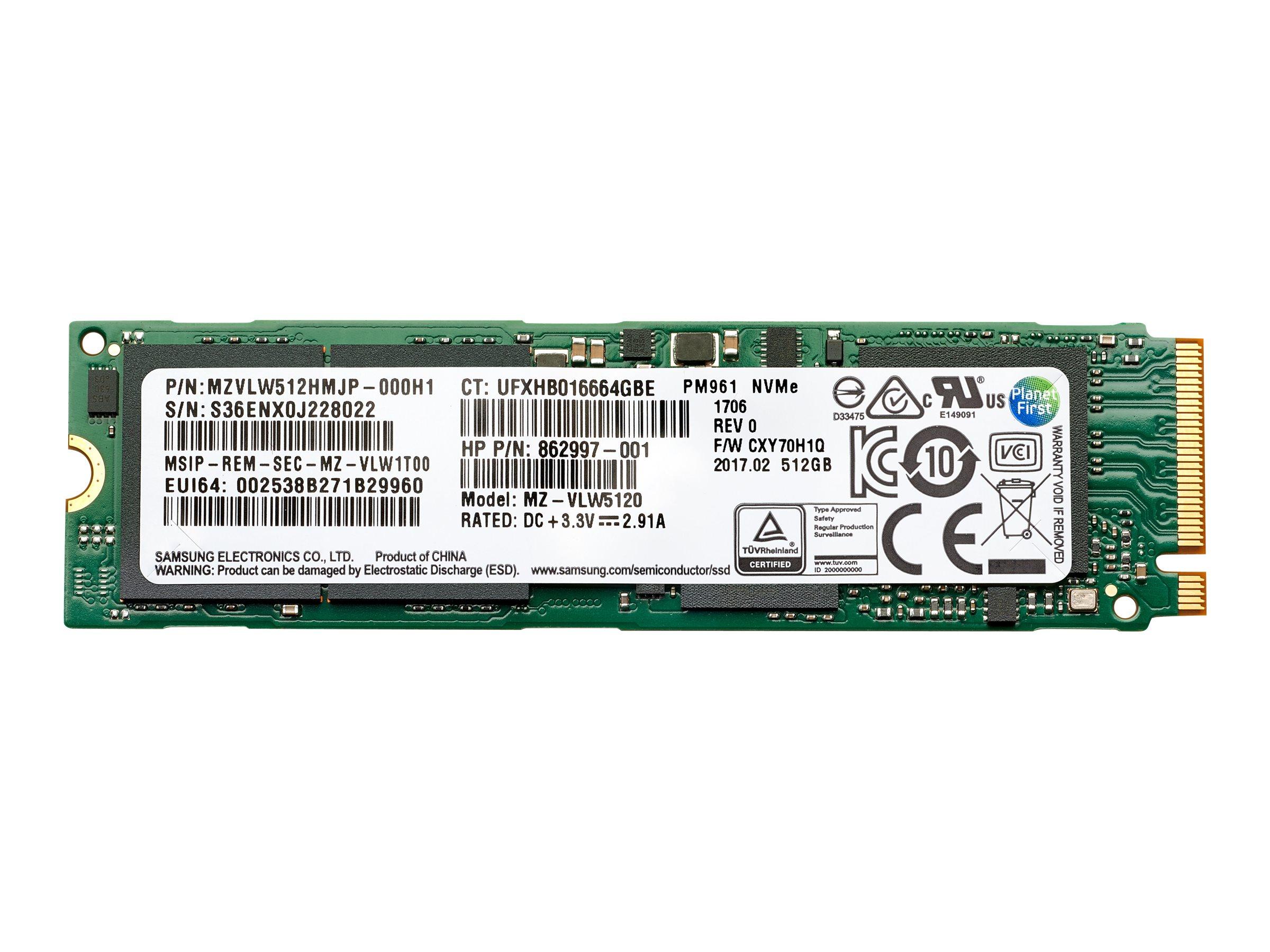 HP - Solid-State-Disk - 512 GB - intern - M.2 2280 (doppelseitig) (in 6,4 cm Träger) (in 2,5 Zoll Träger) - SATA 6Gb/s