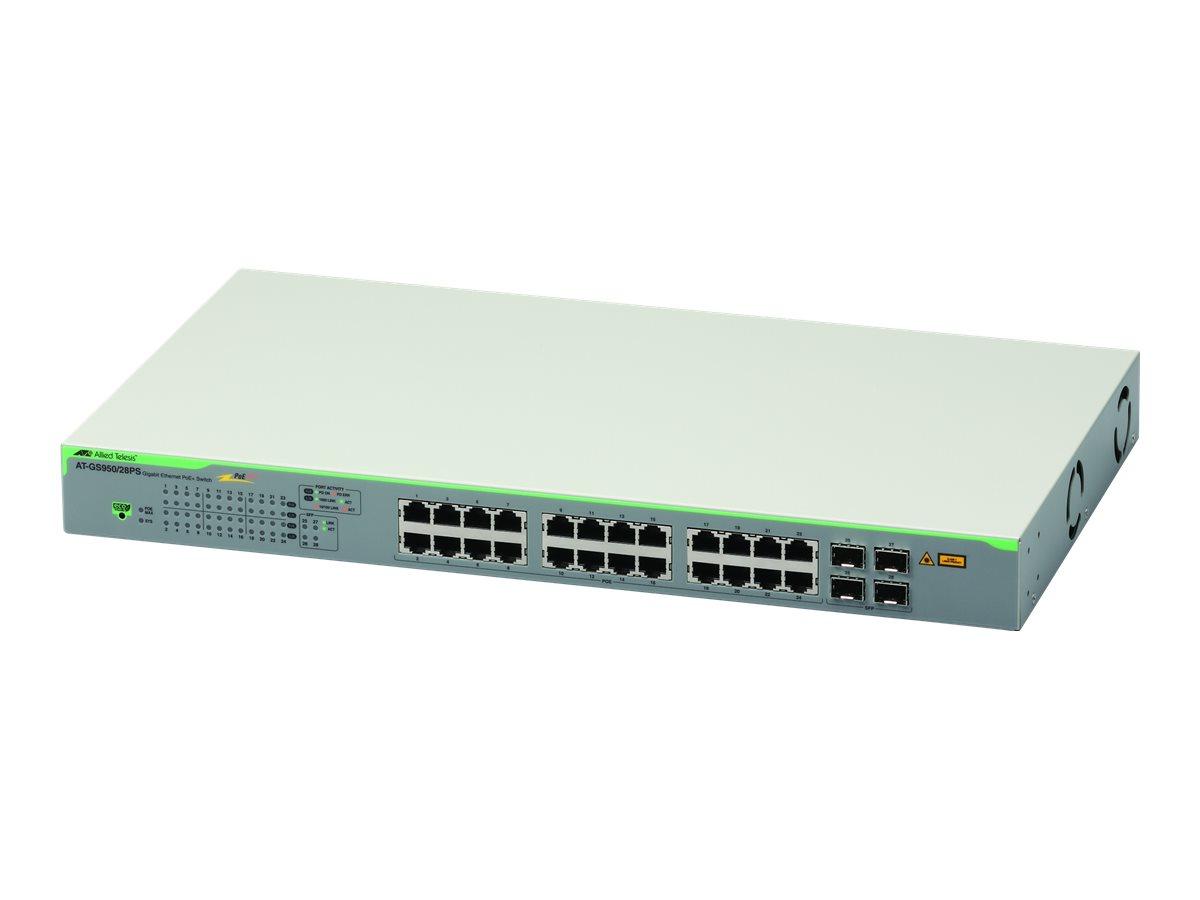 Allied Telesis AT GS950/28PS - Switch - Smart - 24 x 10/100/1000 (PoE+) + 4 x Gigabit SFP - Desktop, an Rack montierbar, wandmon