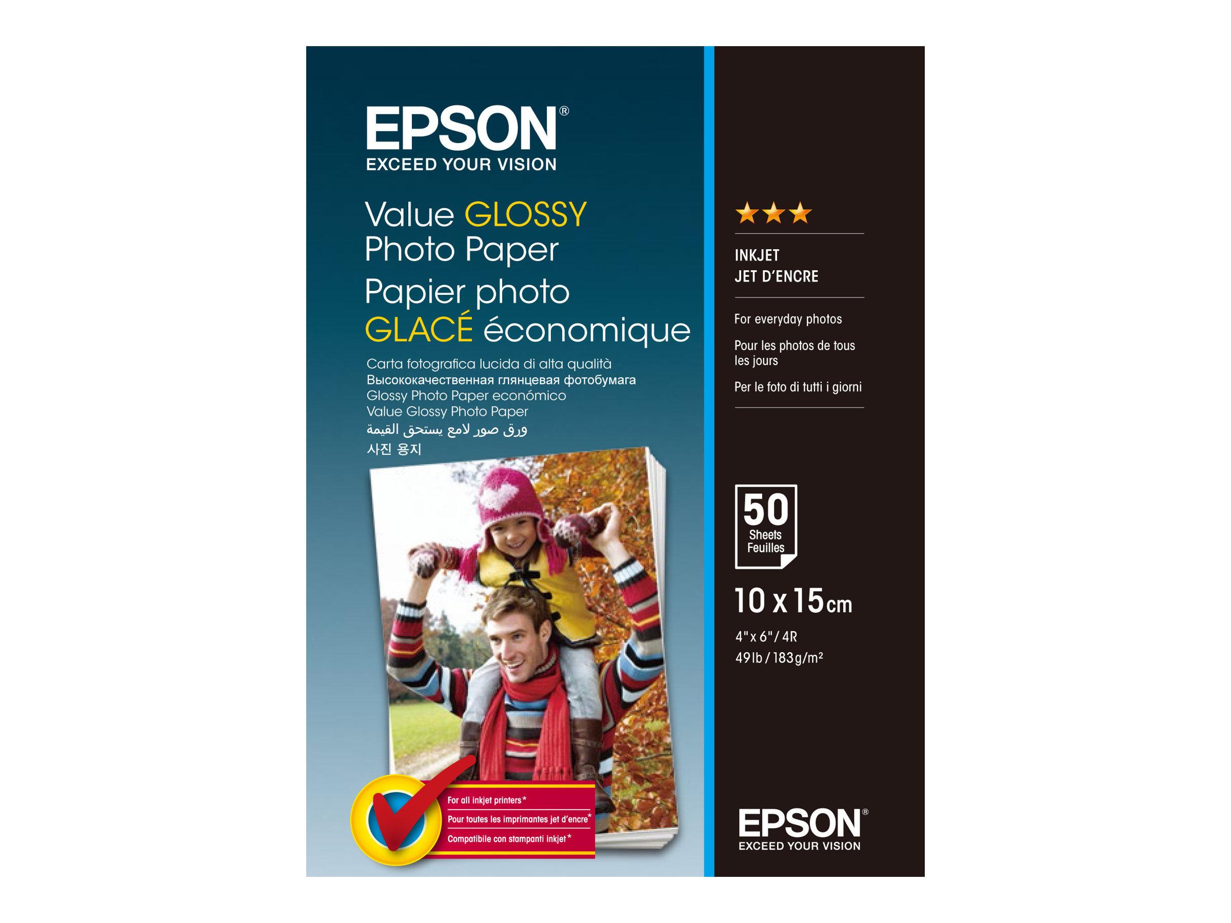 Epson Value - Glänzend - 100 x 150 mm - 183 g/m² - 50 Blatt Fotopapier - für Epson L382, L386, L486; Expression Home HD XP-15000