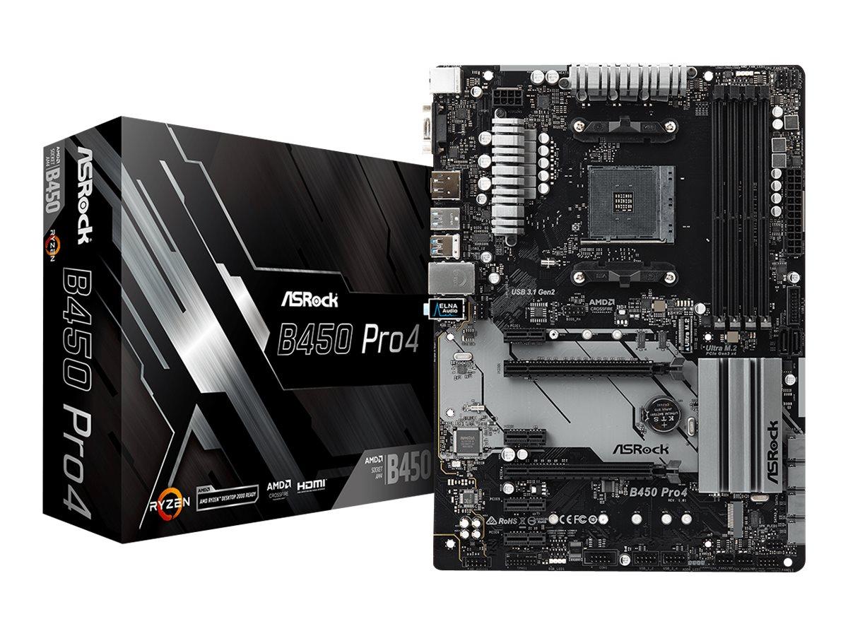 ASRock B450 Pro4 - Motherboard - ATX - Socket AM4 - AMD B450 - USB 3.1 Gen 1, USB-C Gen2, USB 3.1 Gen 2
