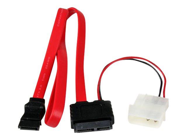 StarTech.com SATA Slimline Kabel mit Molex Stecker - S-ATA all-in-one Anschlusskabel - 1 x Slimline SATA 1 x LP4 1 x SATA - 50cm