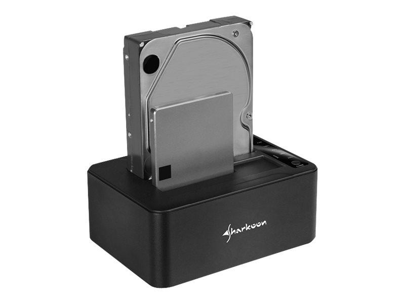 Sharkoon QuickPort Duo - HDD-Dockingstation mit Klon-Funktion Schächte: 2 - 2,5