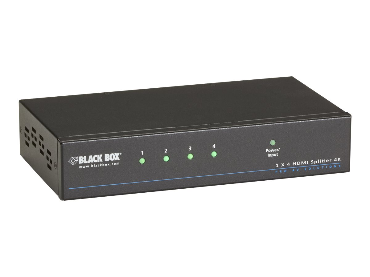 Black Box 4K HDMI Splitter 1 x 4 - Video-/Audio-Splitter - 4 x HDMI - Desktop, an Rack montierbar - TAA-konform