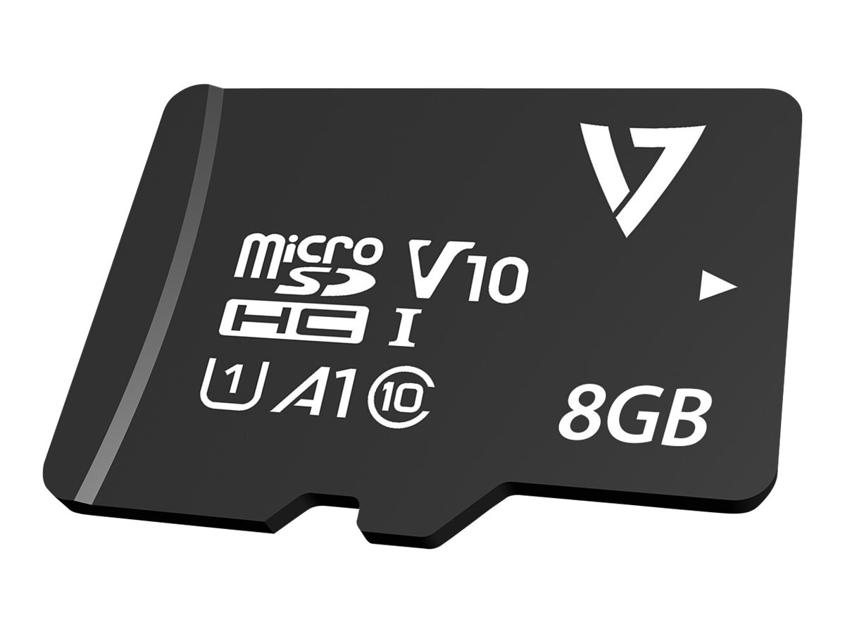 V7 VPMSDH8GC10 - Flash-Speicherkarte (microSDHC/SD-Adapter inbegriffen) - 8 GB - A1 / Video Class V30 / UHS-I U3 / Class10 - mic
