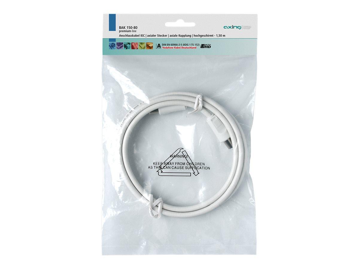 AXING premium-line BAK 150-80 - Antennenkabel - IEC-Anschluss (M) bis IEC-Anschluss (W) - 1.5 m - abgeschirmt - weiss