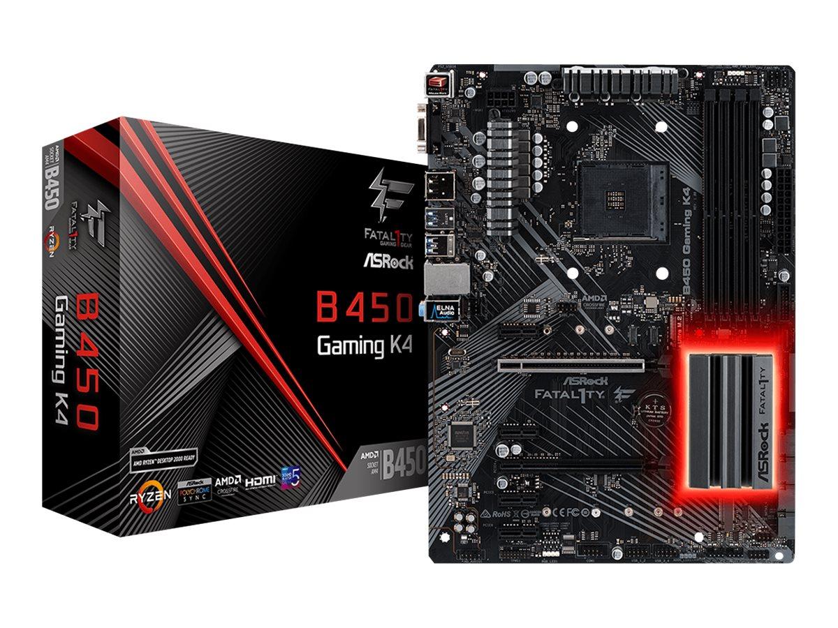 ASRock Fatal1ty B450 Gaming K4 - Motherboard - ATX - Socket AM4 - AMD B450 - USB 3.1 Gen 1, USB-C Gen2, USB 3.1 Gen 2