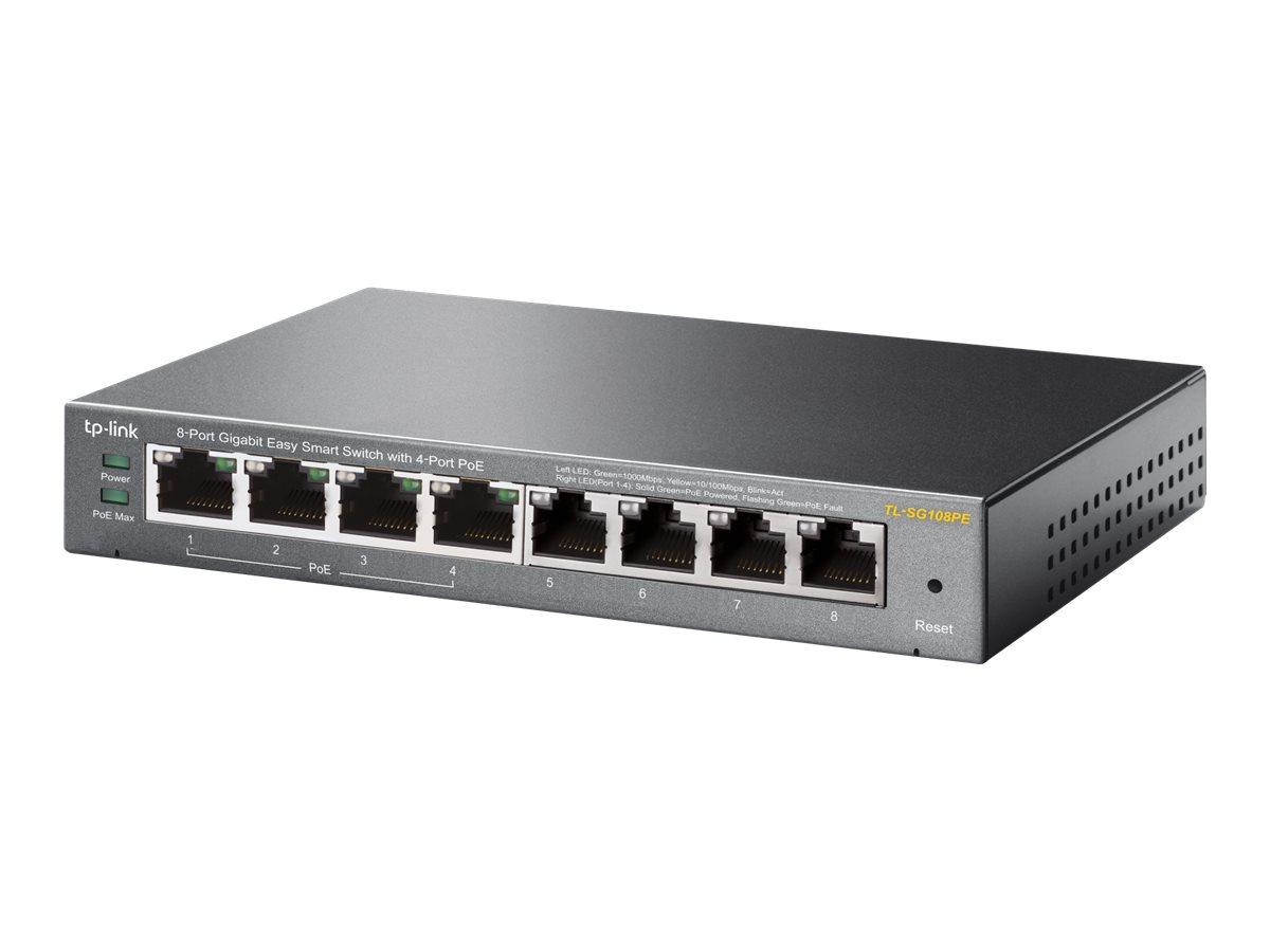 TP-Link Easy Smart TL-SG108PE - Switch - Smart - 4 x 10/100/1000 (4 PoE) + 4 x 10/100/1000 - Desktop - PoE (55 W)