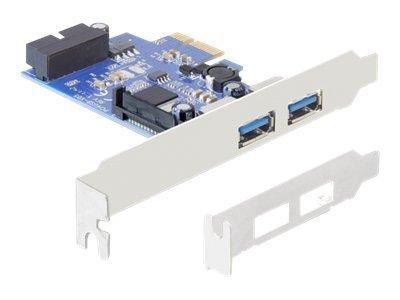 DeLock PCI Express Card > 2 x external USB 3.0 + 1 x internal 19 pin USB 3.0 - USB-Adapter - PCIe 2.0 Low-Profile - USB, USB 2.0