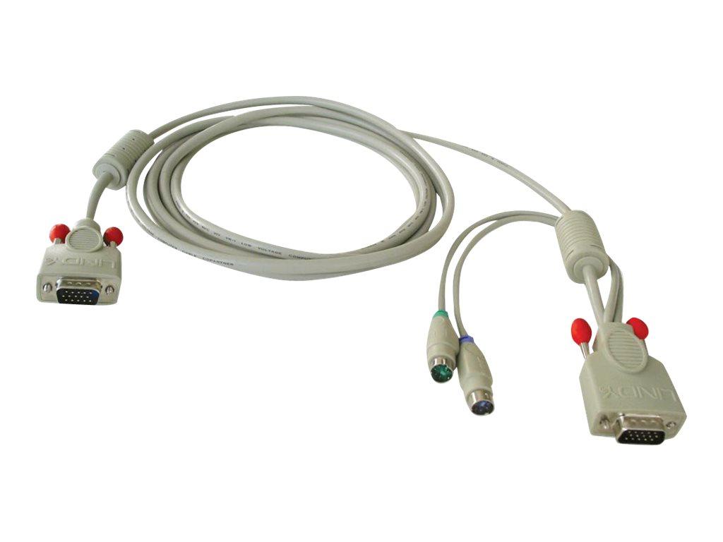 Lindy Combined KVM Cable - Tastatur- / Video- / Maus- (KVM-) Kabel - HD-15 (VGA) (M) bis PS/2, HD-15 (VGA) (M) - 2 m - für CPU S