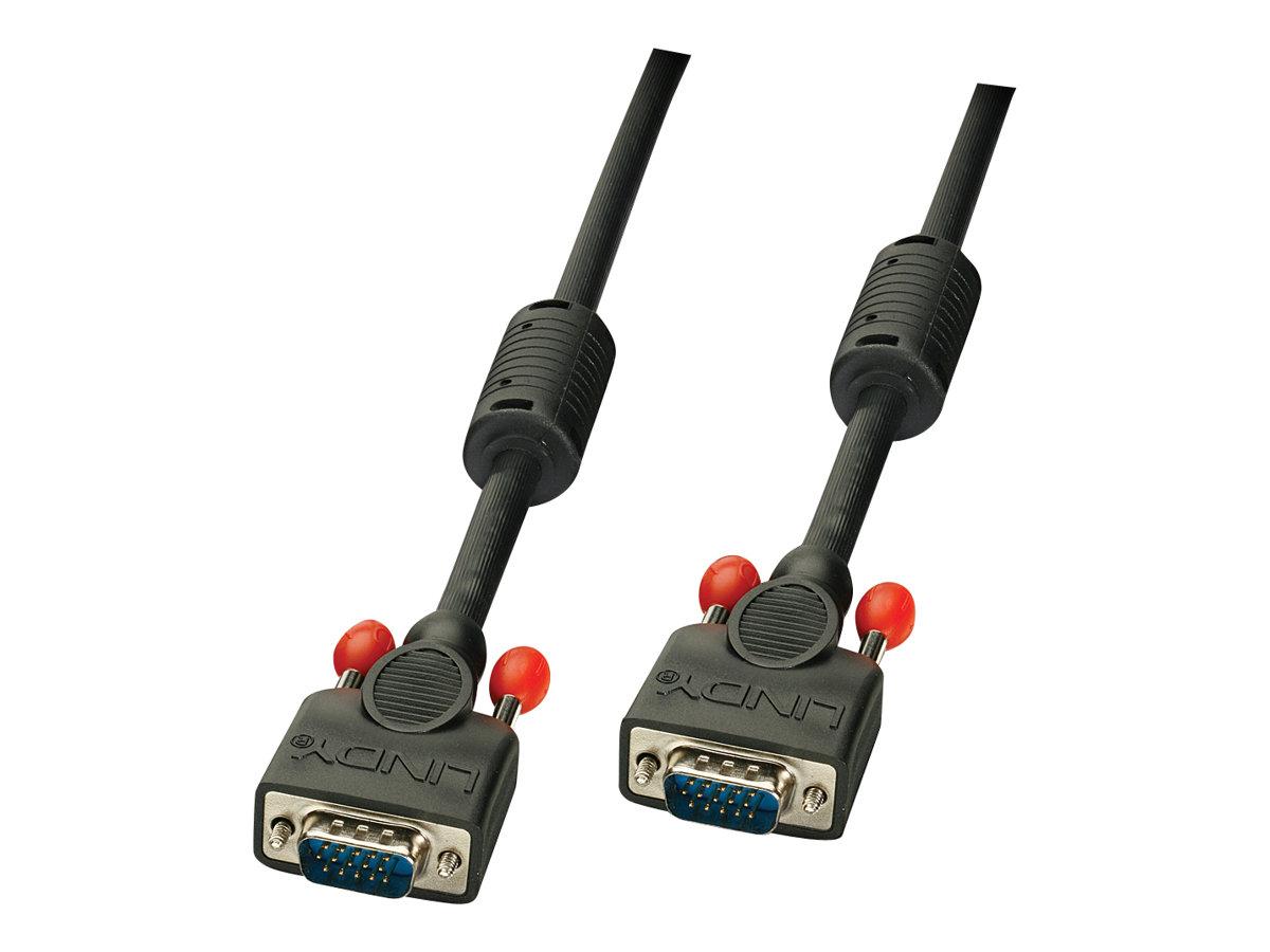 Lindy Premium - VGA-Kabel - HD-15 (VGA) (M) bis HD-15 (VGA) (M) - 5 m - geformt, Daumenschrauben - Schwarz