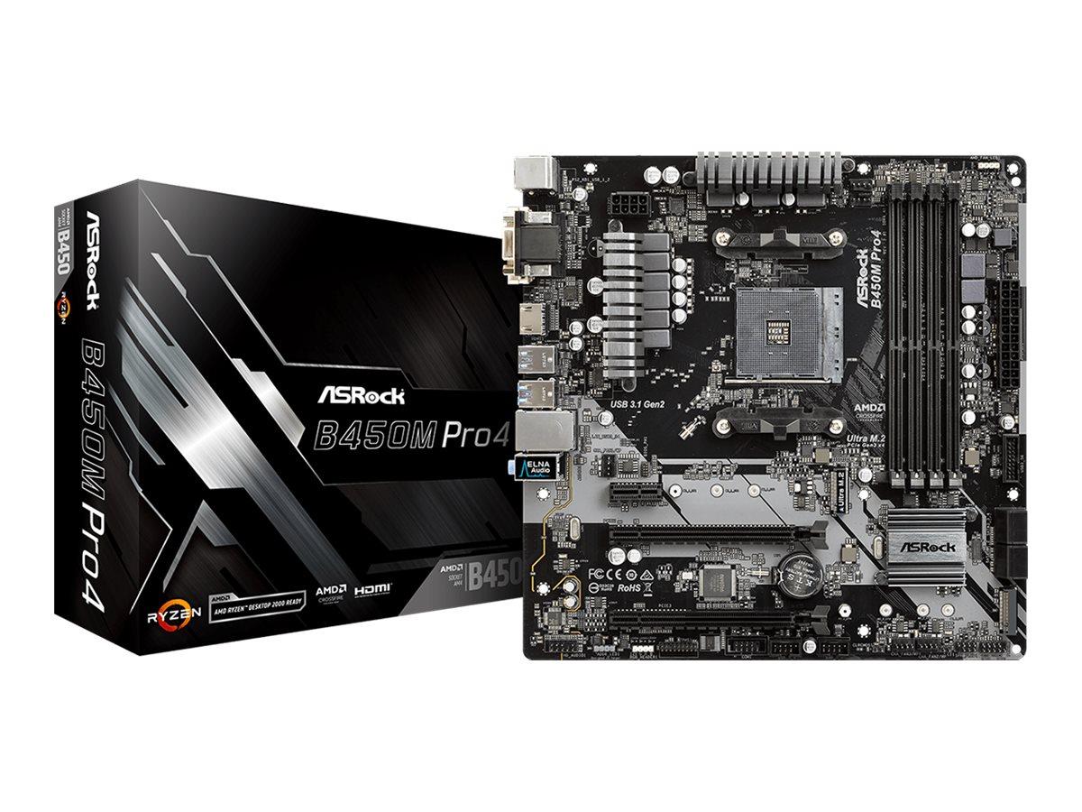 ASRock B450M PRO4 - Motherboard - micro ATX - Socket AM4 - AMD B450 - USB 3.1 Gen 1, USB-C Gen2, USB 3.1 Gen 2