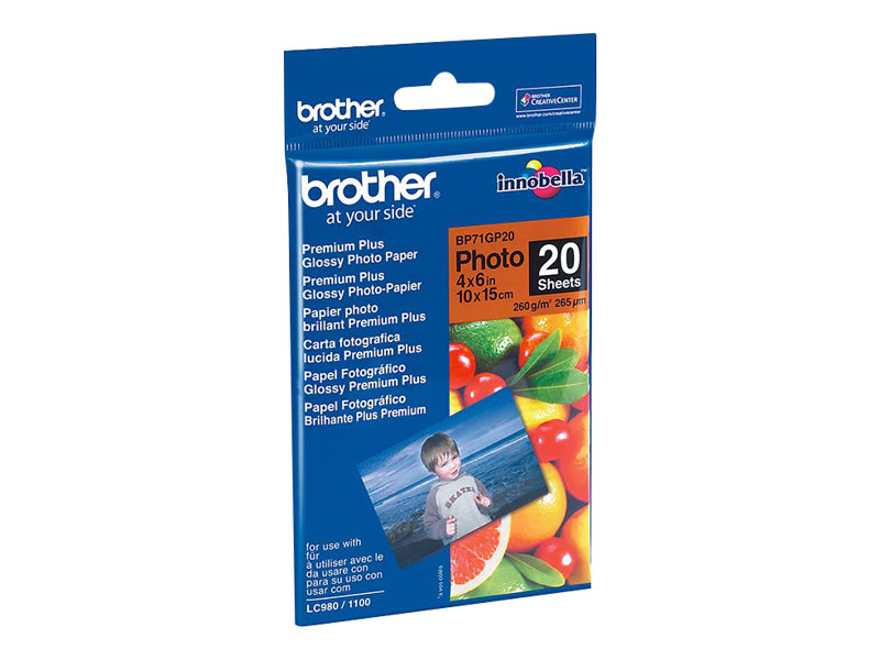 Brother BP - Glänzend - 100 x 150 mm 20 Blatt Fotopapier - für Brother DCP-J772, J774, T510, T710, MFC-J690, J775, T910; Busines
