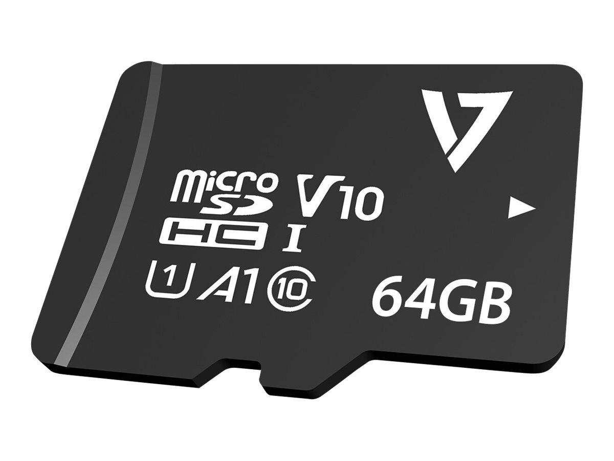 V7 VPMD64GU3 - Flash-Speicherkarte (microSDXC-an-SD-Adapter inbegriffen) - 64 GB - A1 / Video Class V30 / UHS-I U3 / Class10 - m