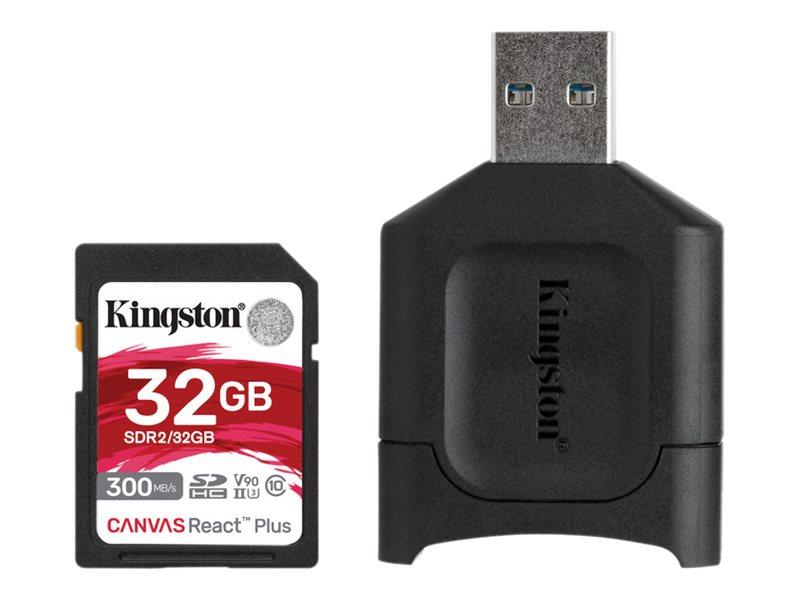 Kingston Canvas React Plus - Flash-Speicherkarte - 32 GB - Video Class V90 / UHS-II U3 / Class10 - SDHC UHS-II