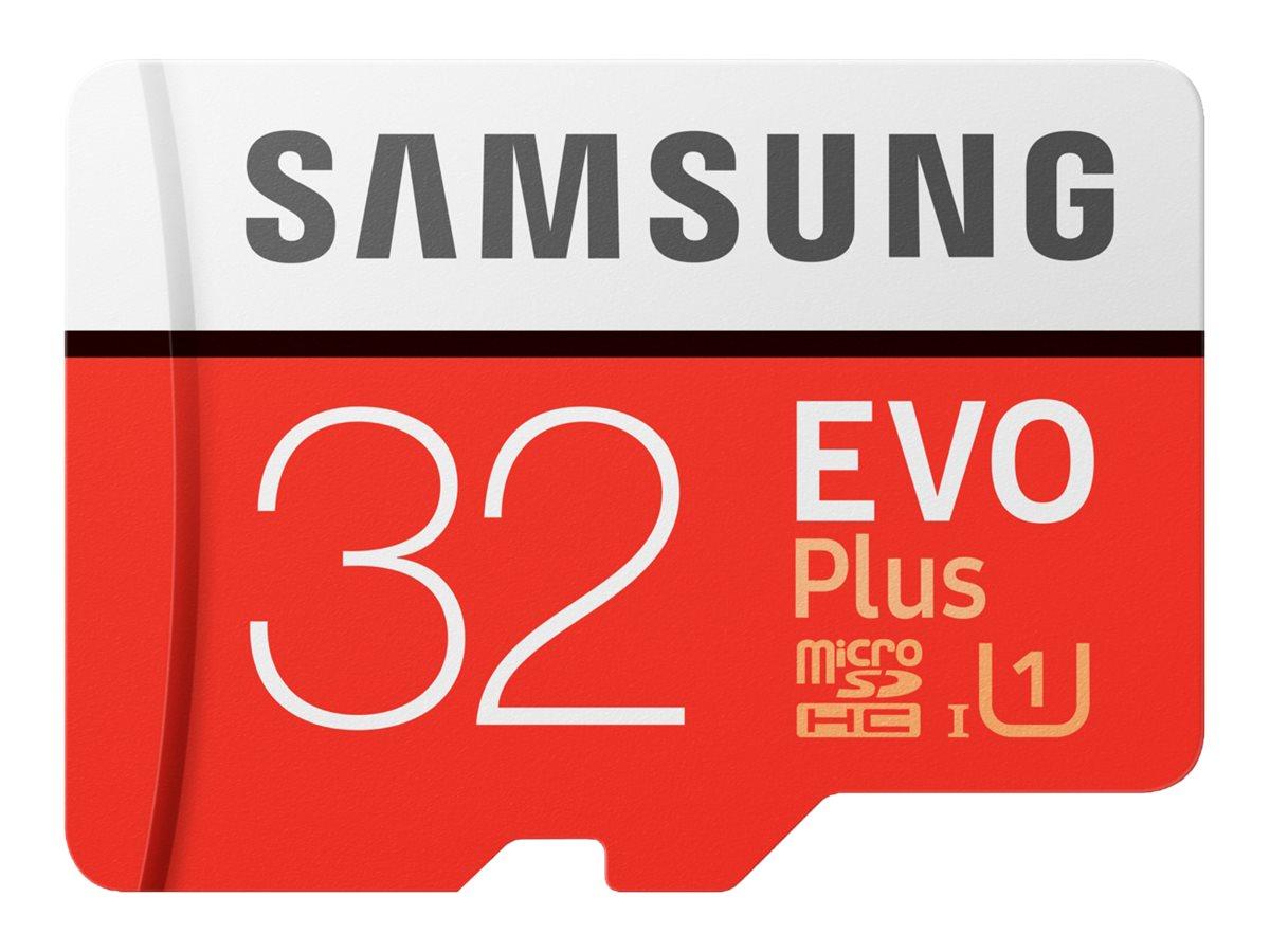 Samsung EVO Plus MB-MC32G - Flash-Speicherkarte (microSDHC/SD-Adapter inbegriffen) - 32 GB - UHS Class 1 / Class10 - microSDHC U