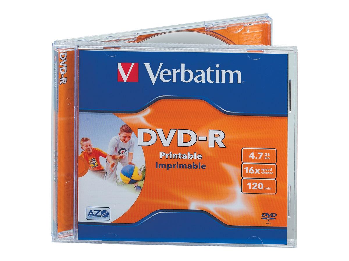 Verbatim - 10 x DVD-R - 4.7 GB 16x - breite bedruckbare Fläche für Fotos - Jewel Case (Schachtel)