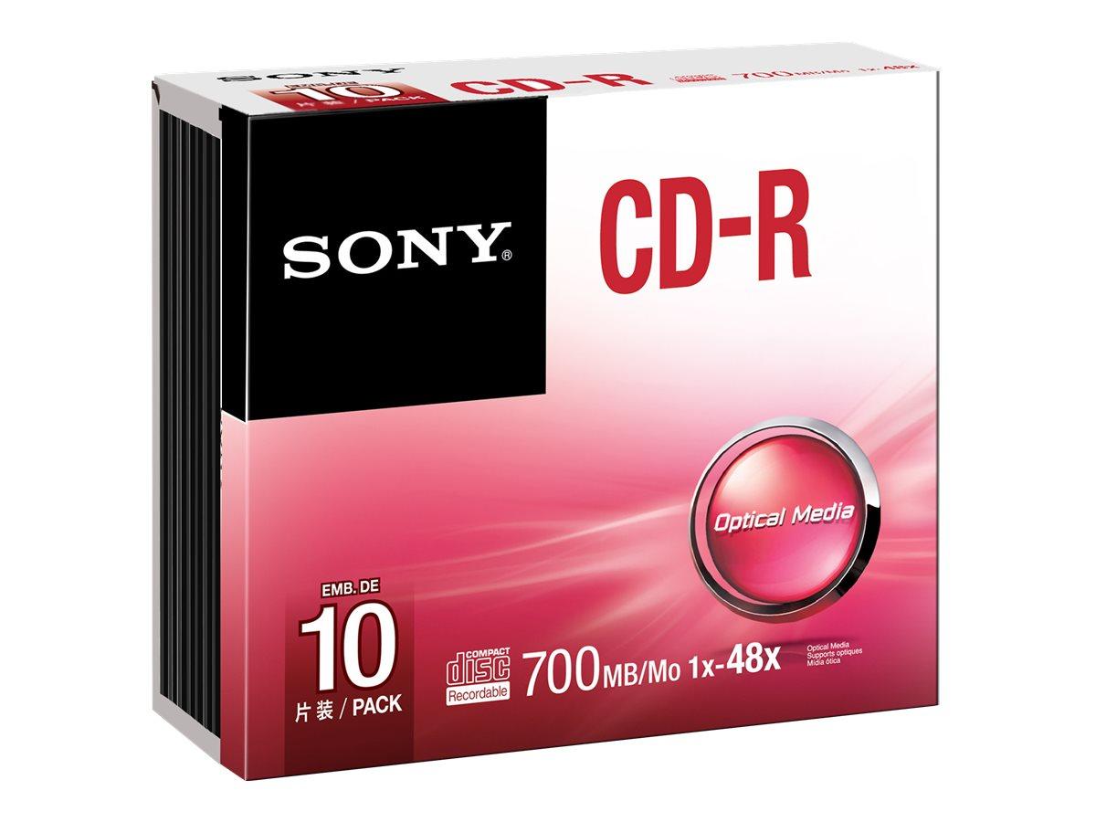 Sony 10CDQ80SS - 10 x CD-R - 700 MB (80 Min) 48x - Slim Jewel Case
