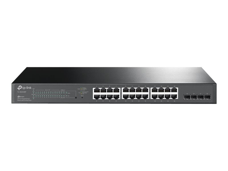 TP-Link JetStream TL-SG2428P - Switch - Smart - 24 x 10/100/1000 (PoE+) + 4 x SFP - an Rack montierbar - PoE+ (250 W)