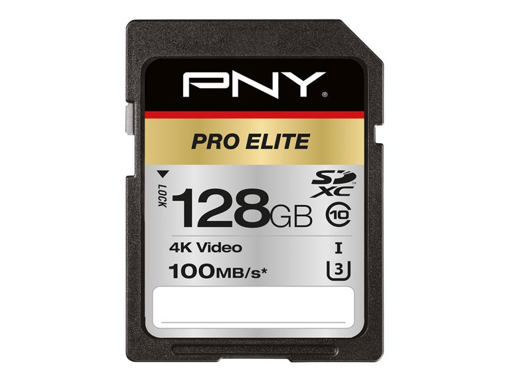 PNY PRO Elite - Flash-Speicherkarte - 128 GB - UHS-I U3 / Class10 - SDXC UHS-I