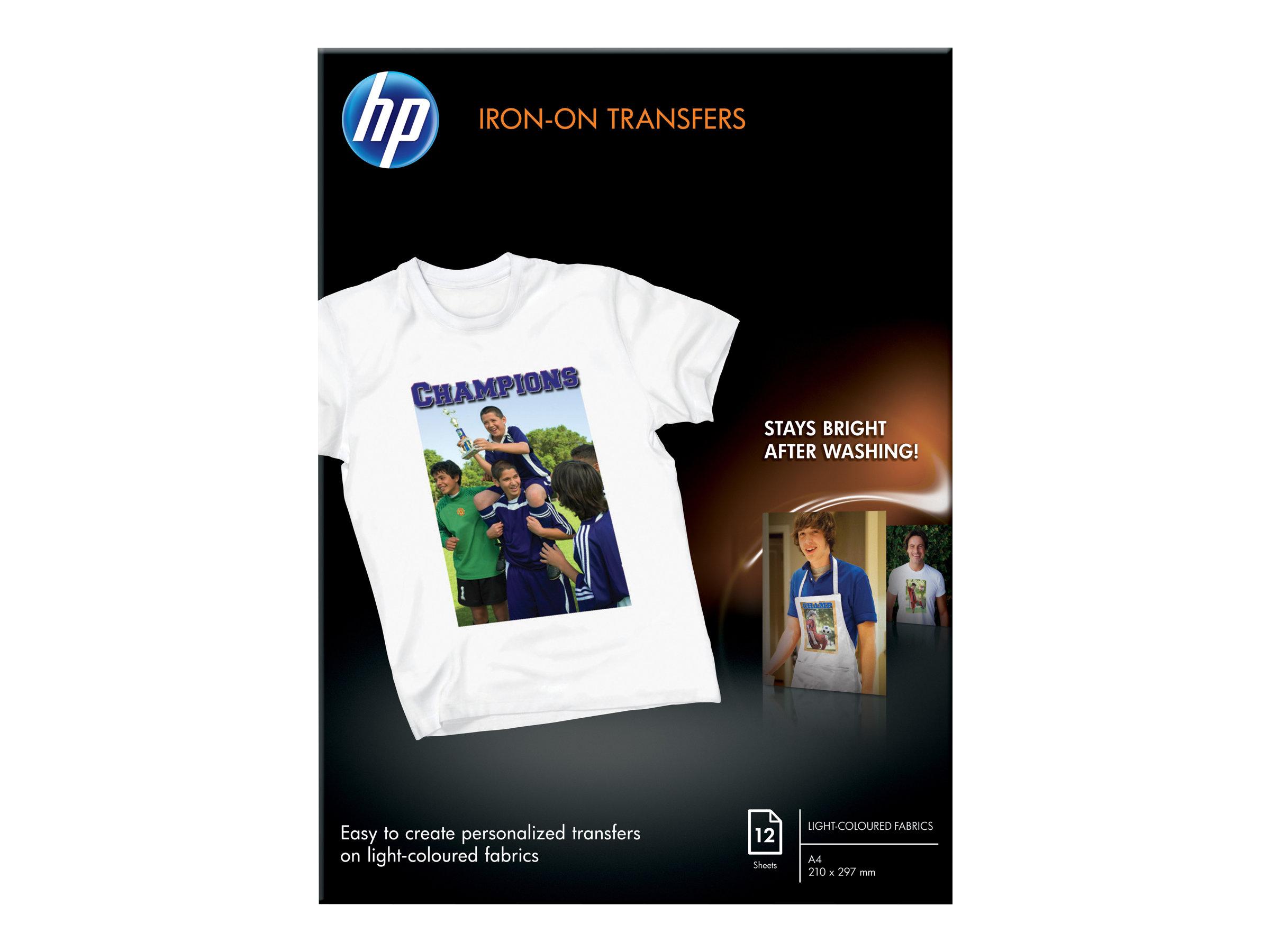 HP - A4 (210 x 297 mm) 12 Stck. Transferpapier zum Aufbügeln - für Envy 50XX, 7645; Officejet 52XX, 6000 E609, 7500; PageWide MF