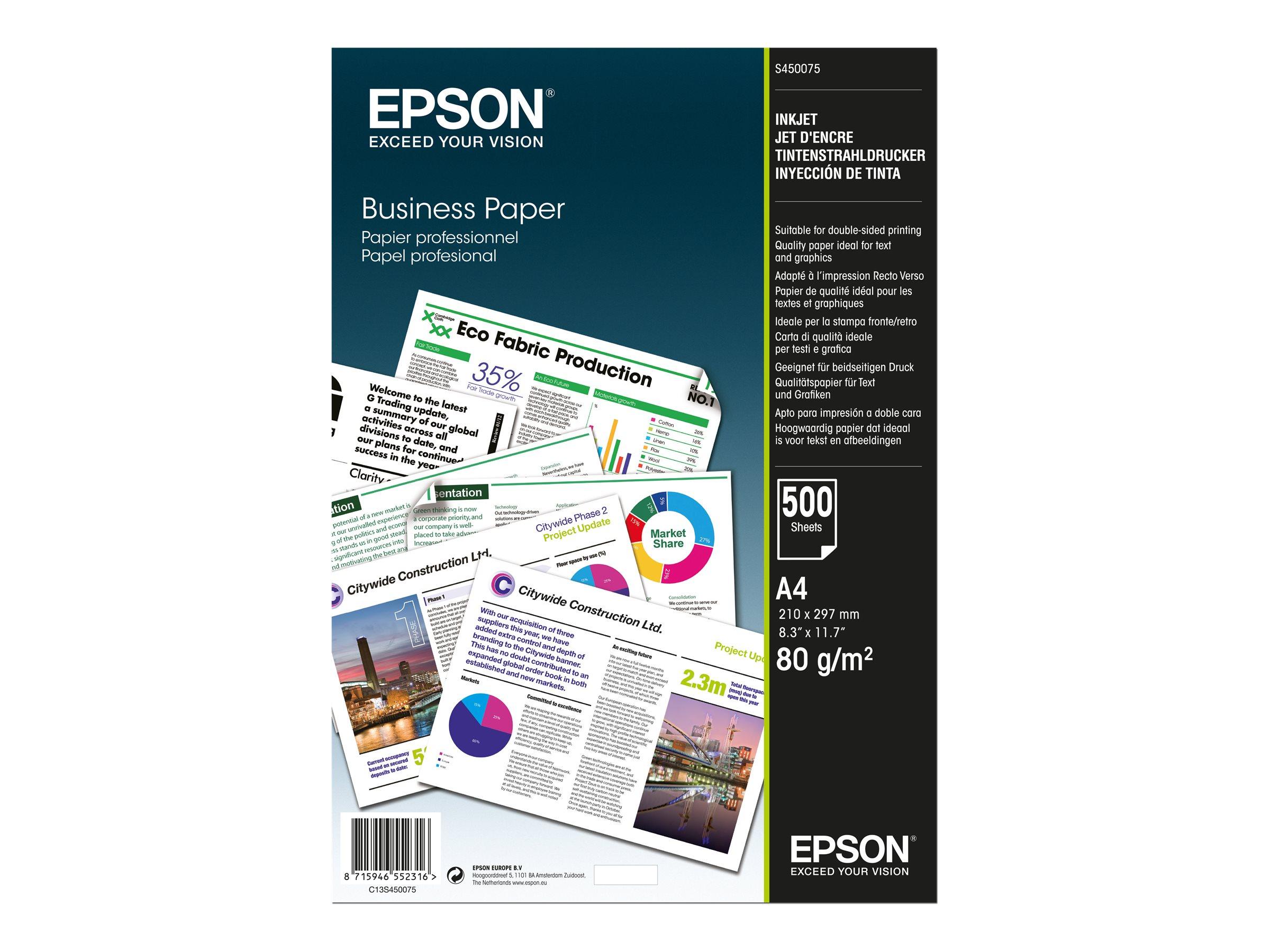 Epson Business Paper - A4 (210 x 297 mm) - 80 g/m² - 500 Blatt Normalpapier - für EcoTank ET-16500, 2650, 2751, 2756; Expression